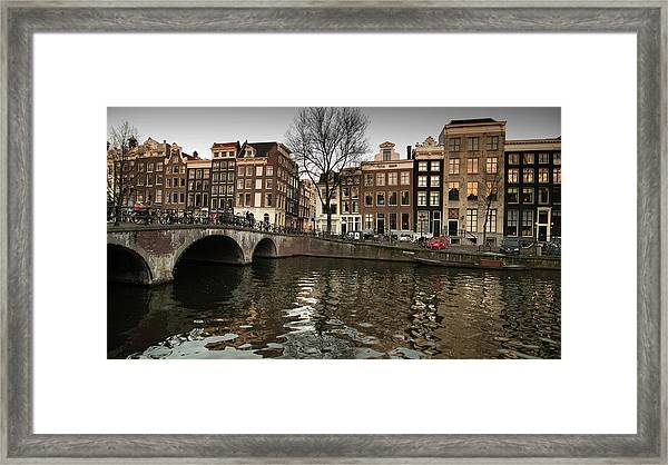 Amsterdam Canal Bridge Framed Print