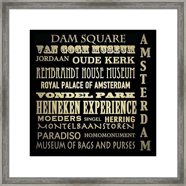 Amsterdam Famous Landmarks Framed Print