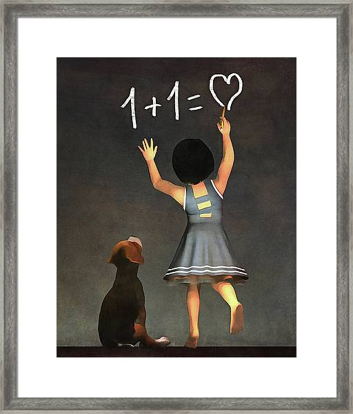 Framed Print featuring the painting Amy Educating Buddy Math by Jan Keteleer