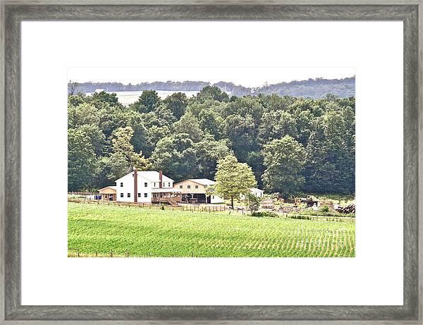 An Amish Farm Framed Print by Penny Neimiller