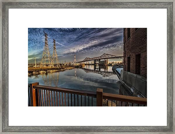 an Industrial river scene Framed Print