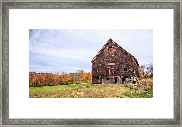 An Old Wooden Barn In Vermont. Framed Print