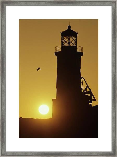 Anacapa Lighthouse And Sunrise Framed Print