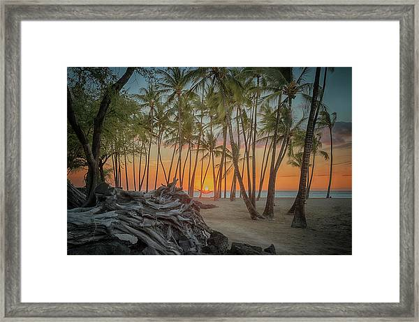 Anaehoomalu Beach Sunset Framed Print