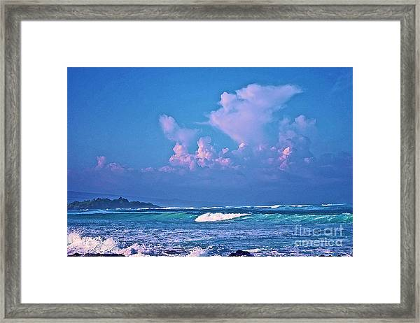 Anaeho'omalu Waves And Clouds Framed Print