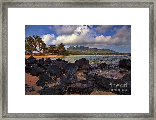 Framed Print featuring the photograph Anahola Beach Park On The Island Of Kauai, Hawaii by Sam Antonio Photography