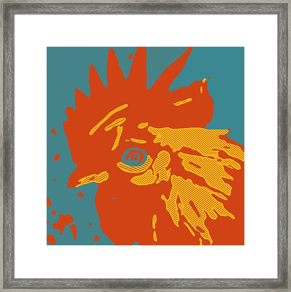 Analog Rooster Rocks Framed Print