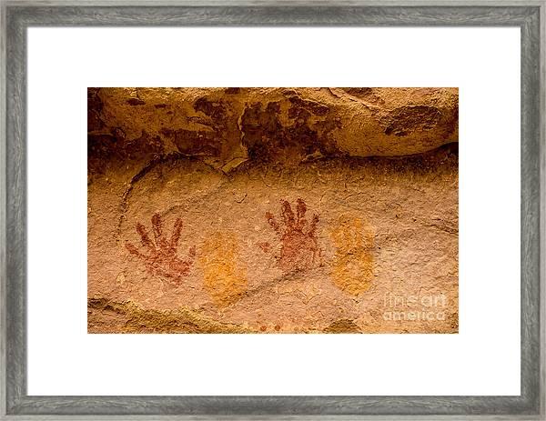 Anasazi Painted Handprints - Utah Framed Print