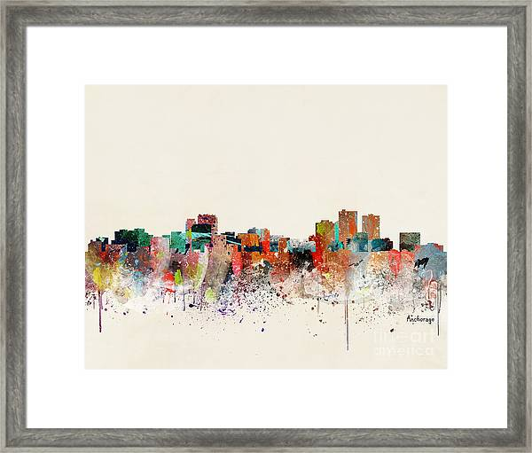 Anchorage Alaska Skyline Framed Print