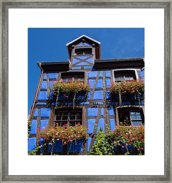 Ancient Alsace Auberge In Blue Framed Print