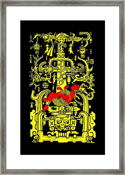 Ancient Astronaut Yellow And Red Version Framed Print