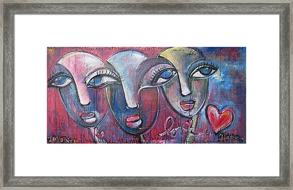Framed Print featuring the painting And Then There Were Three by Laurie Maves ART