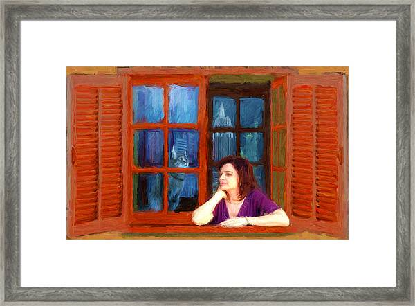 Andrea And The Cat Framed Print