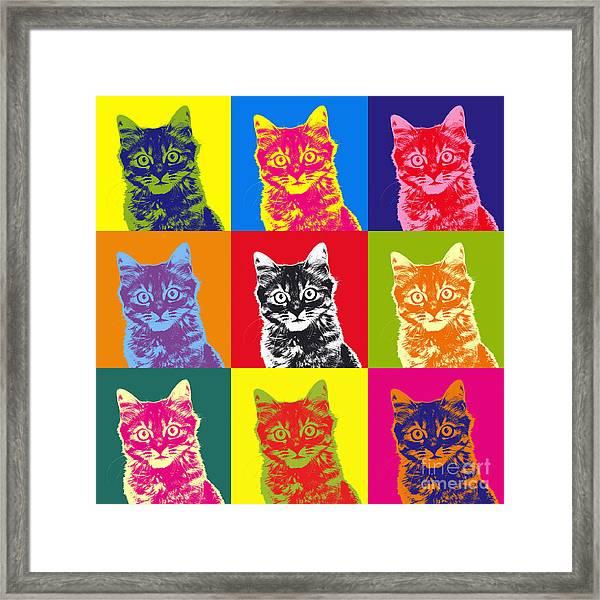 Andy Warhol Cat Framed Print