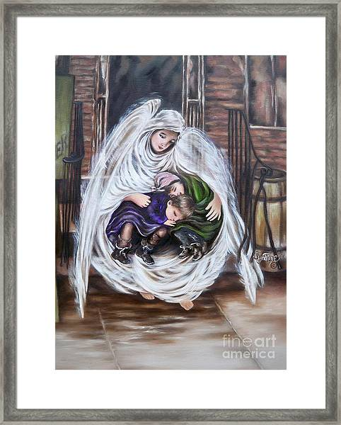 Flying Lamb Productions.        Angel And The Orphans Framed Print