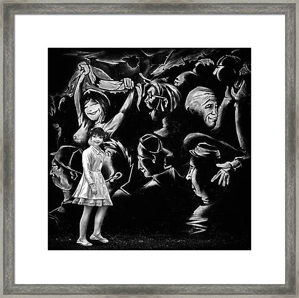 Angel And The Social Media Jungle Framed Print by Piet Flour