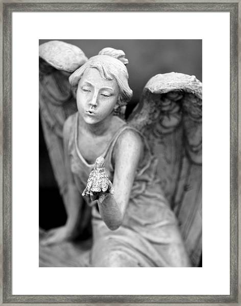 Angel Blowing Kisses Framed Print by Gwen Allen