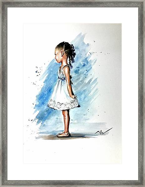 Framed Print featuring the painting Angel by Katerina Kovatcheva