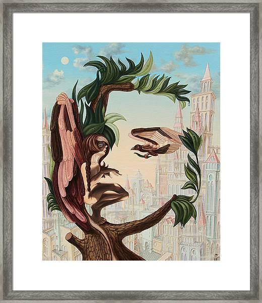 Angel, Watching The Reincarnation Of Marilyn Monroe On The Swinging City Towers Framed Print