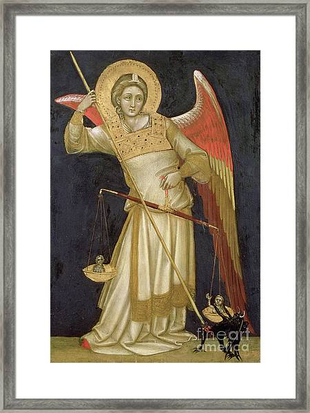 Angel Weighing A Soul Framed Print