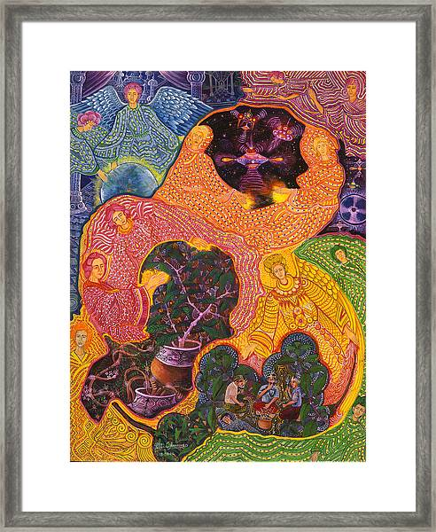 Framed Print featuring the painting Angeles Avatares by Pablo Amaringo