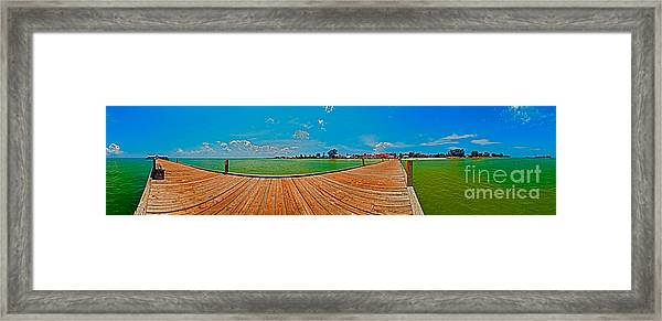Anna Maria Island Seen From The Historic City Pier Panorama Framed Print