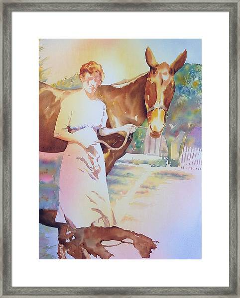 Anna Violet Stubblefield And Lightning Circa1913 Framed Print
