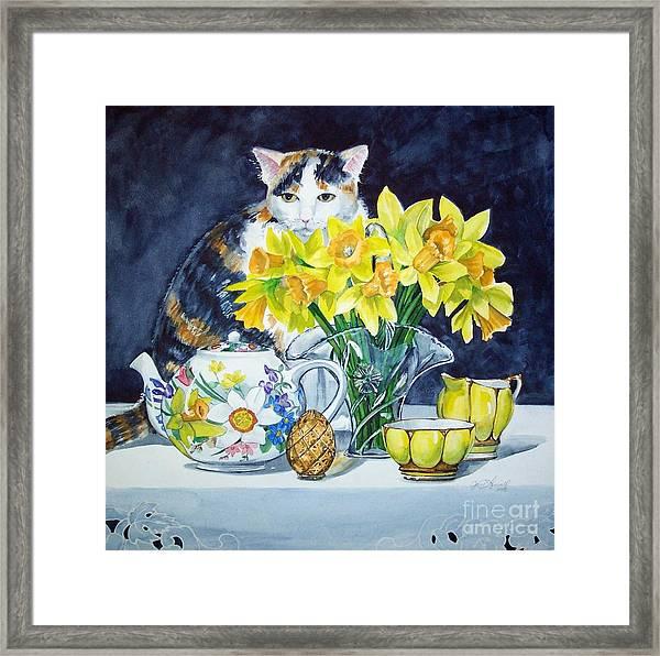 Annabelle Behind Flowers Framed Print