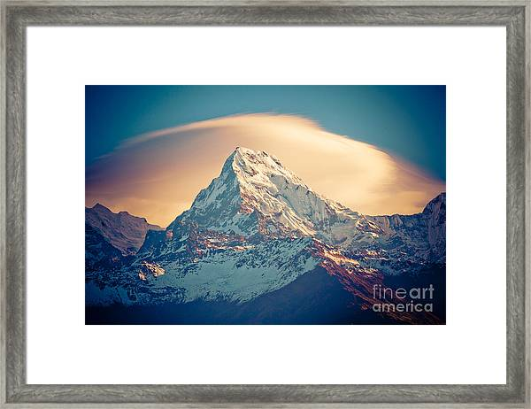 Framed Print featuring the photograph Annapurna Sunrise Himalayas Mountains by Raimond Klavins