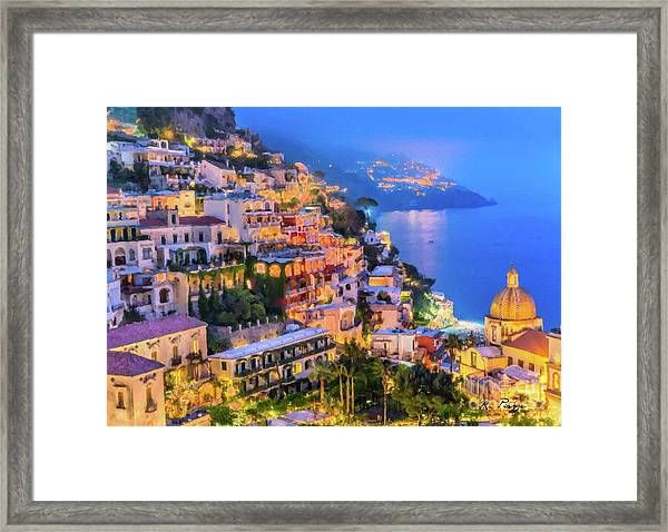 Framed Print featuring the digital art Another Glowing Evening In Positano by Rosario Piazza