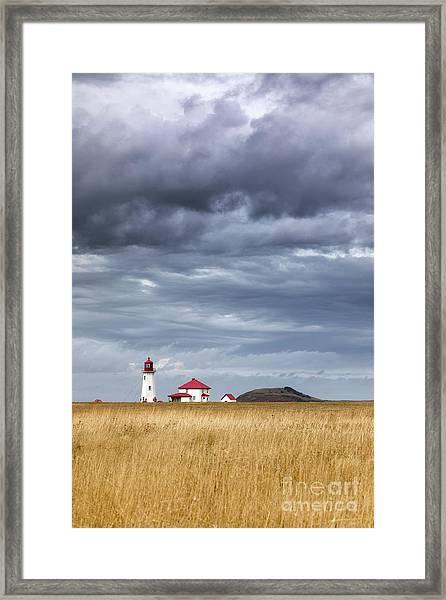 Anse A La Cabane Lighthouse On The Magdalen Islands Framed Print