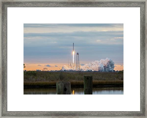 Antares Launch From Wallops Island Framed Print