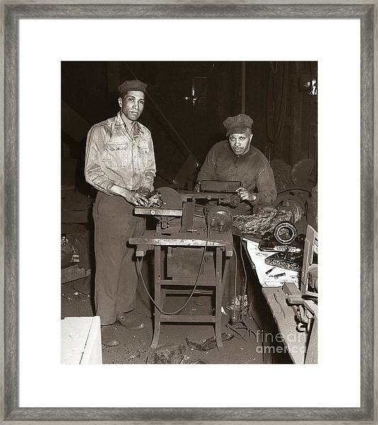 Anthracite Coal Artist  Charles Edgar Patience On Right  1906-1972 In Studio 1953    Framed Print