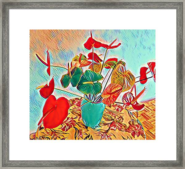Anthurium Bouquet Of The Day - Multiple Color Framed Print