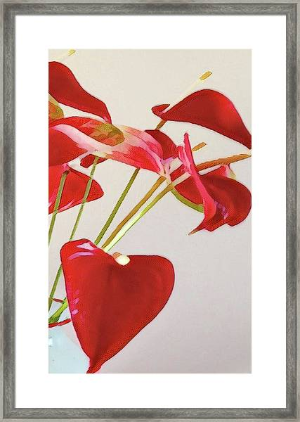 Anthurium Fragments In Red Framed Print