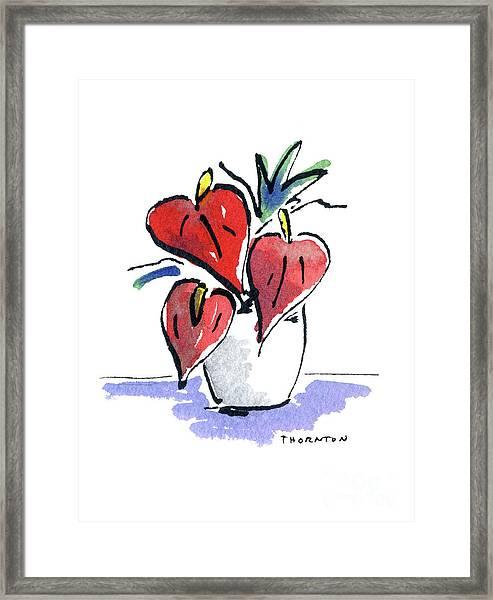 Anthurium Vase Framed Print