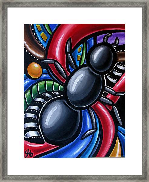 Ant Art Painting Colorful Abstract Artwork - Chromatic Acrylic Painting Framed Print