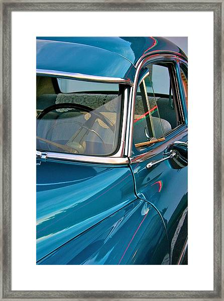 Antique Car With Neon Reflections Framed Print