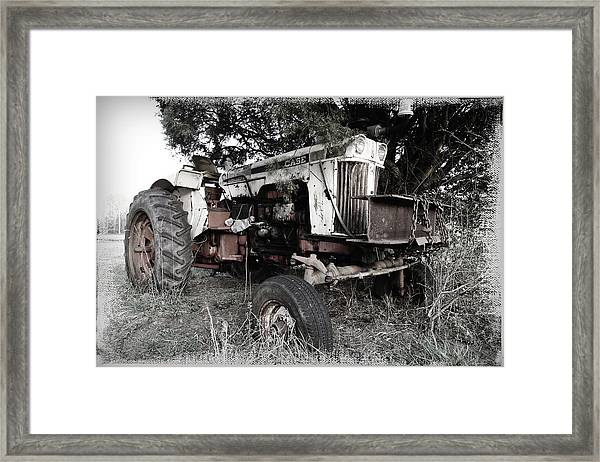 Antique Case Tractor Framed Print
