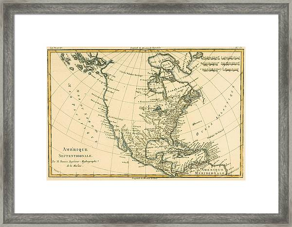 Antique Map Of North America Framed Print