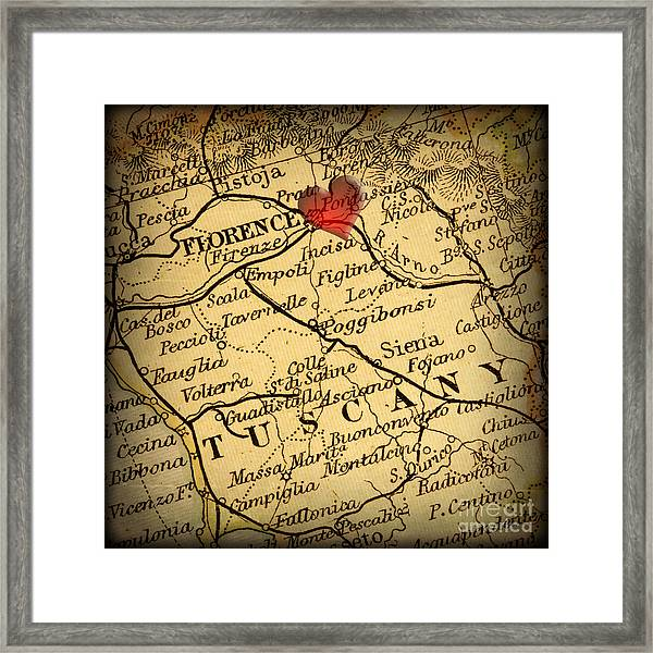 Antique Map With A Heart Over The City Of Florence In Italy Framed Print