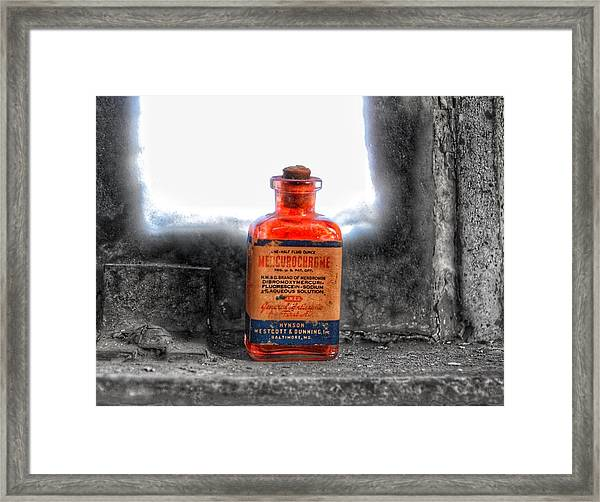 Antique Mercurochrome Hynson Westcott And Dunning Inc. Medicine Bottle - Maryland Glass Corporation Framed Print