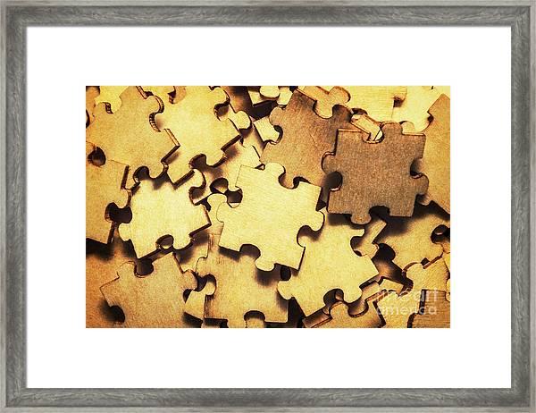 Antique Puzzle Of Missing Links Framed Print