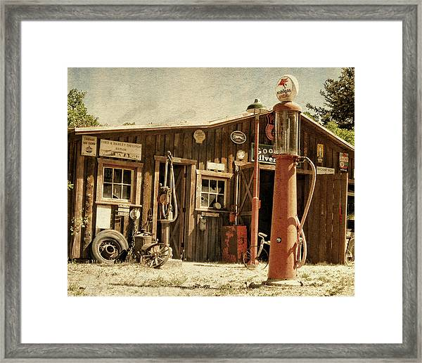 Antique Service Station Framed Print
