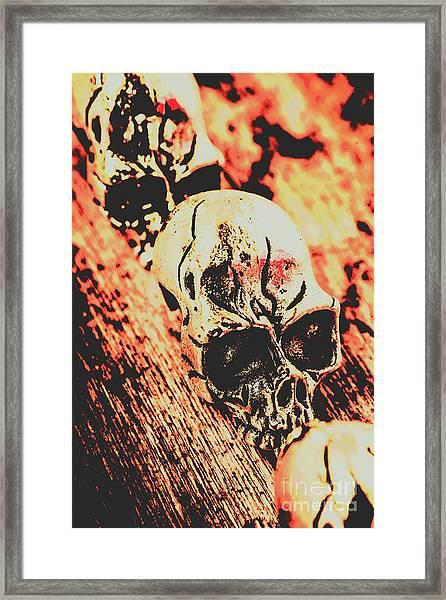 Antique Skull Scene Framed Print