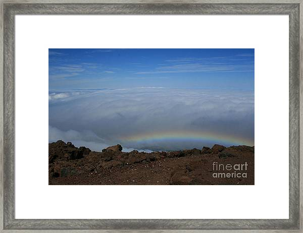 Anuenue - Rainbow At The Ahinahina Ahu Haleakala Sunrise Maui Hawaii Framed Print