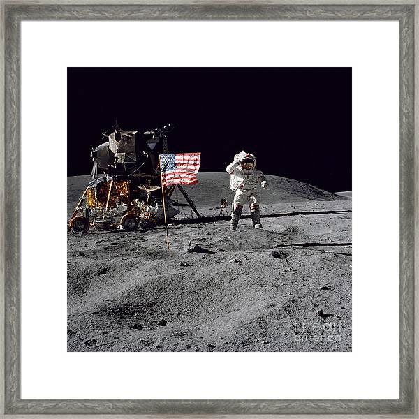 Apollo 16 Astronaut Leaps Framed Print