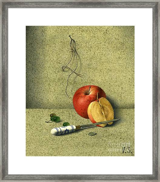 Apple And Knife Framed Print by Victor Sap
