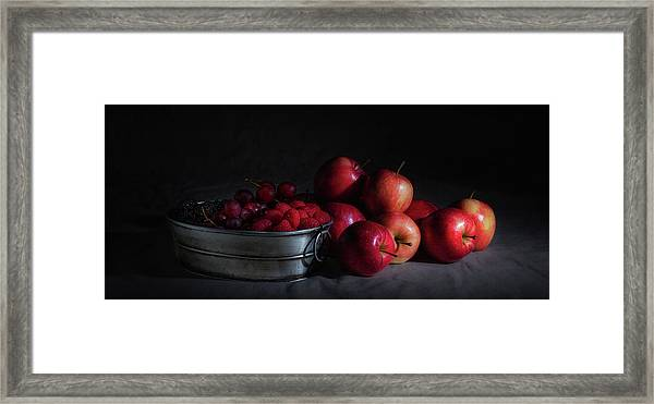 Apples And Berries Panoramic Framed Print