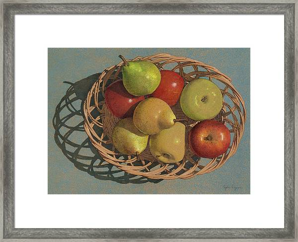 Apples And Pears In A Wicker Basket  Framed Print